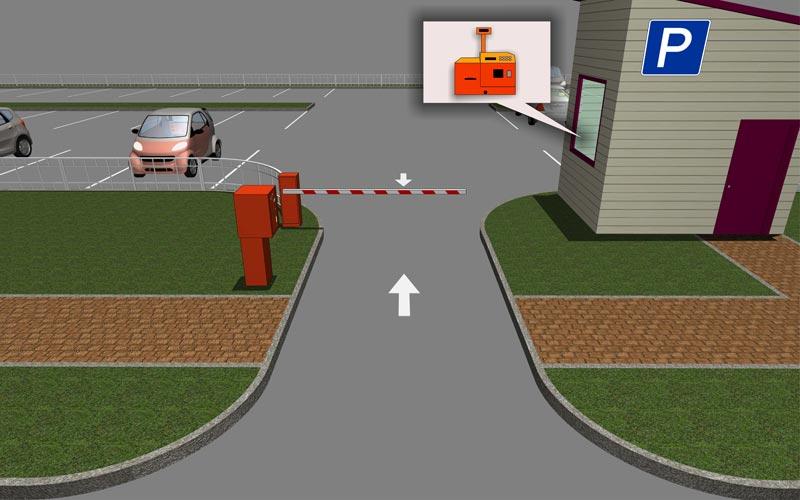 Реверсивный въезд-выезд с въездной стойкой
