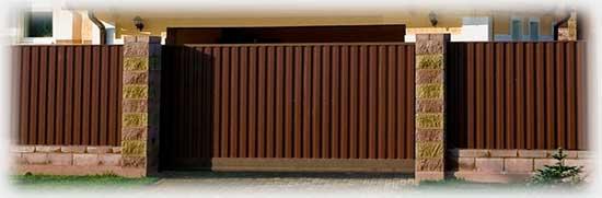 Откатные ворота из профнастила купить в Перми