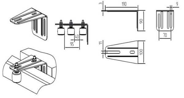 Кронштейн для верхних роликов SGN.02.718 с роликами SGN.02.720 Алютех в Перми